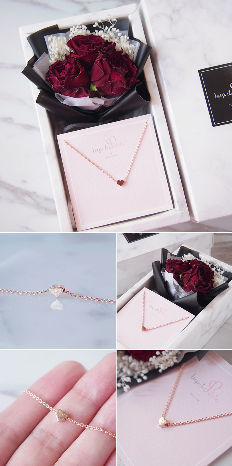 Mini Brushed Heart Rose Gold Necklace with Keepsake Bouquet Gift Set