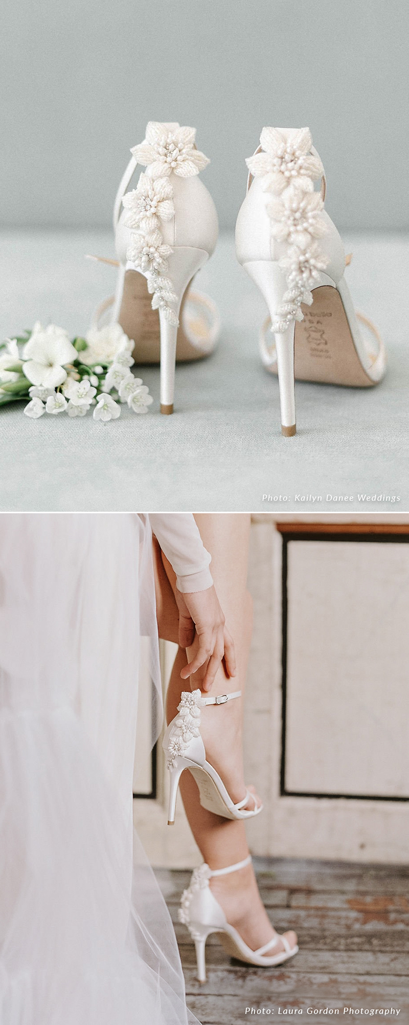 3D Floral Pearls Wedding Heel