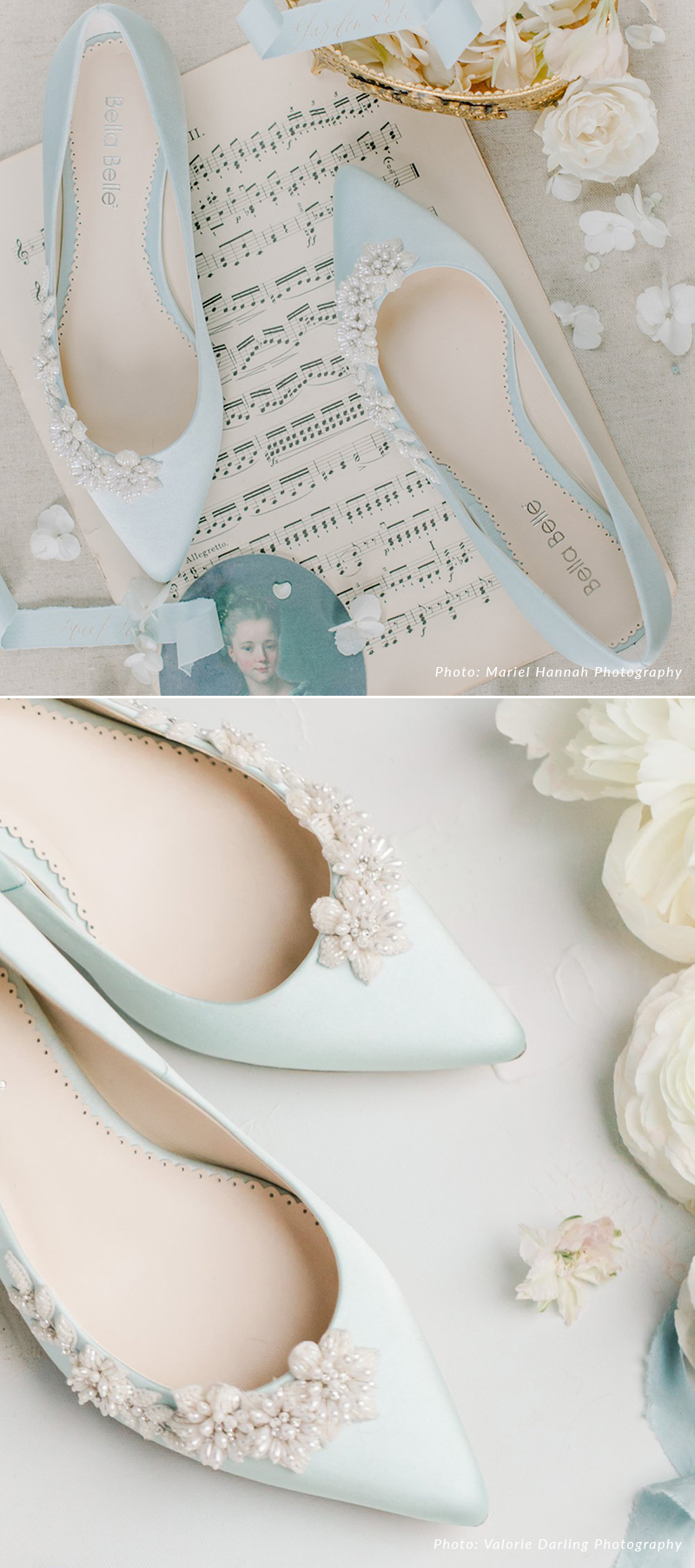 Blue 3D Floral Pearls Wedding Shoes