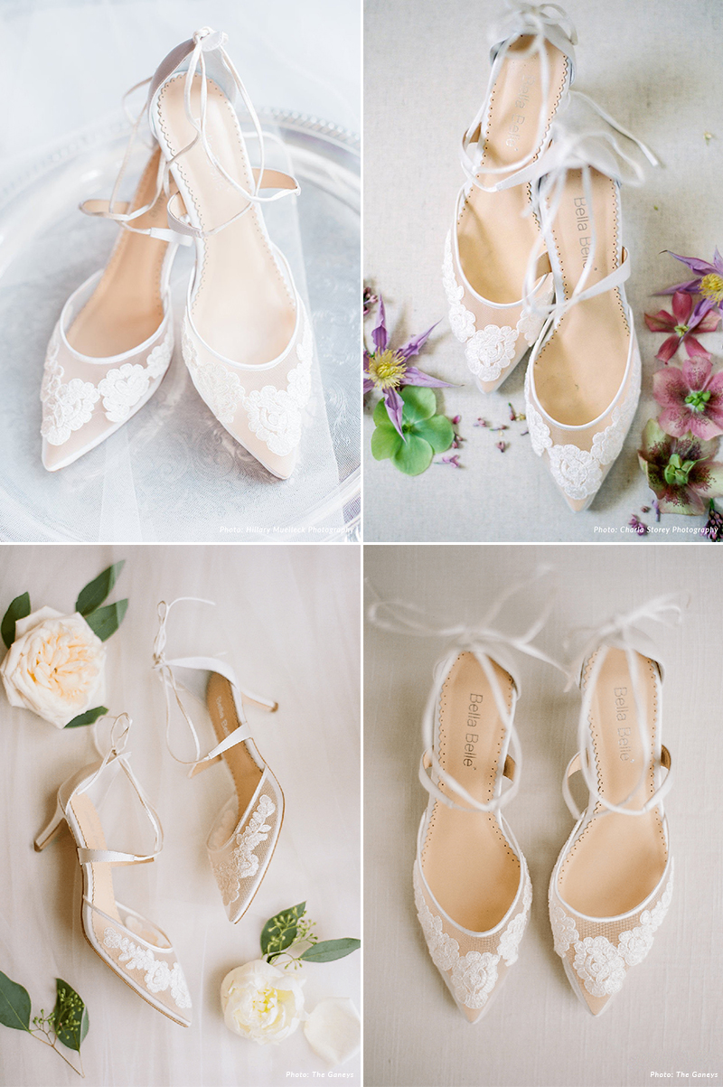 Lace Illusion Kitten Heel Lace Wedding Shoes