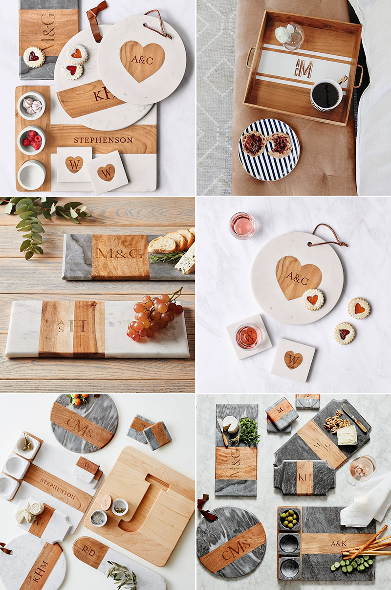 wedding gift idea wood marble cheese cutting board