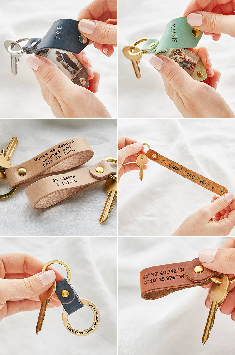 wedding gift idea personalized leather keychain