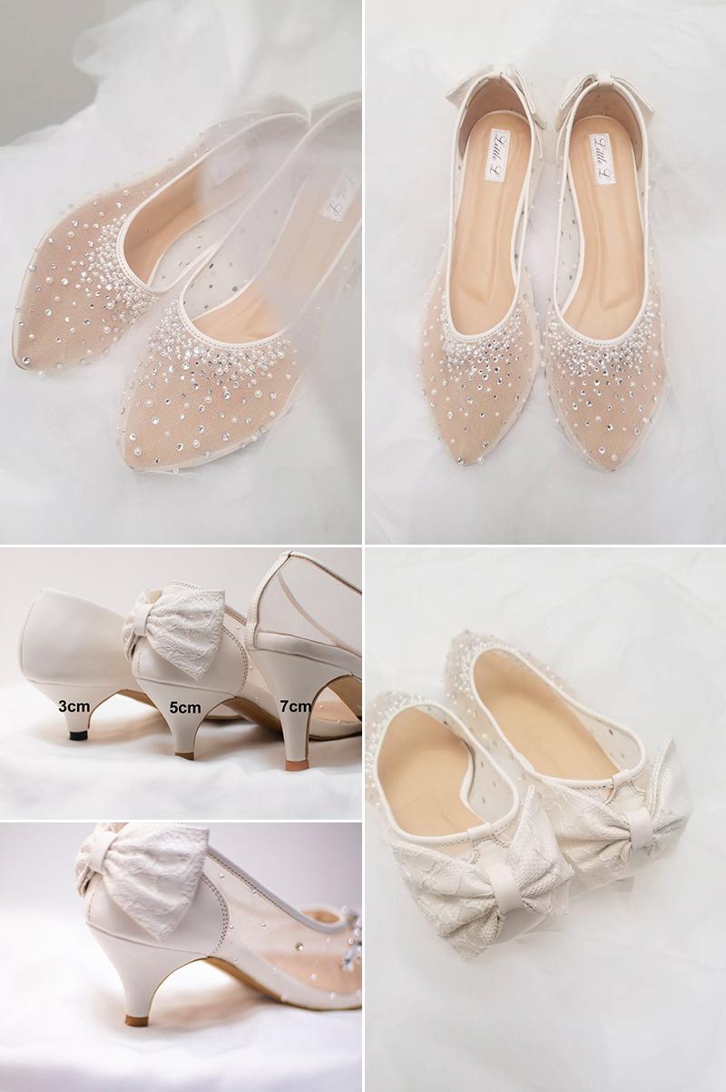 Pearl Rhinestone Custom Heel Wedding Shoes
