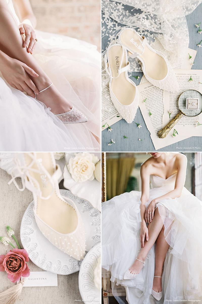 Hand-sewn Luminous Pearls Ivory Kitten Heels