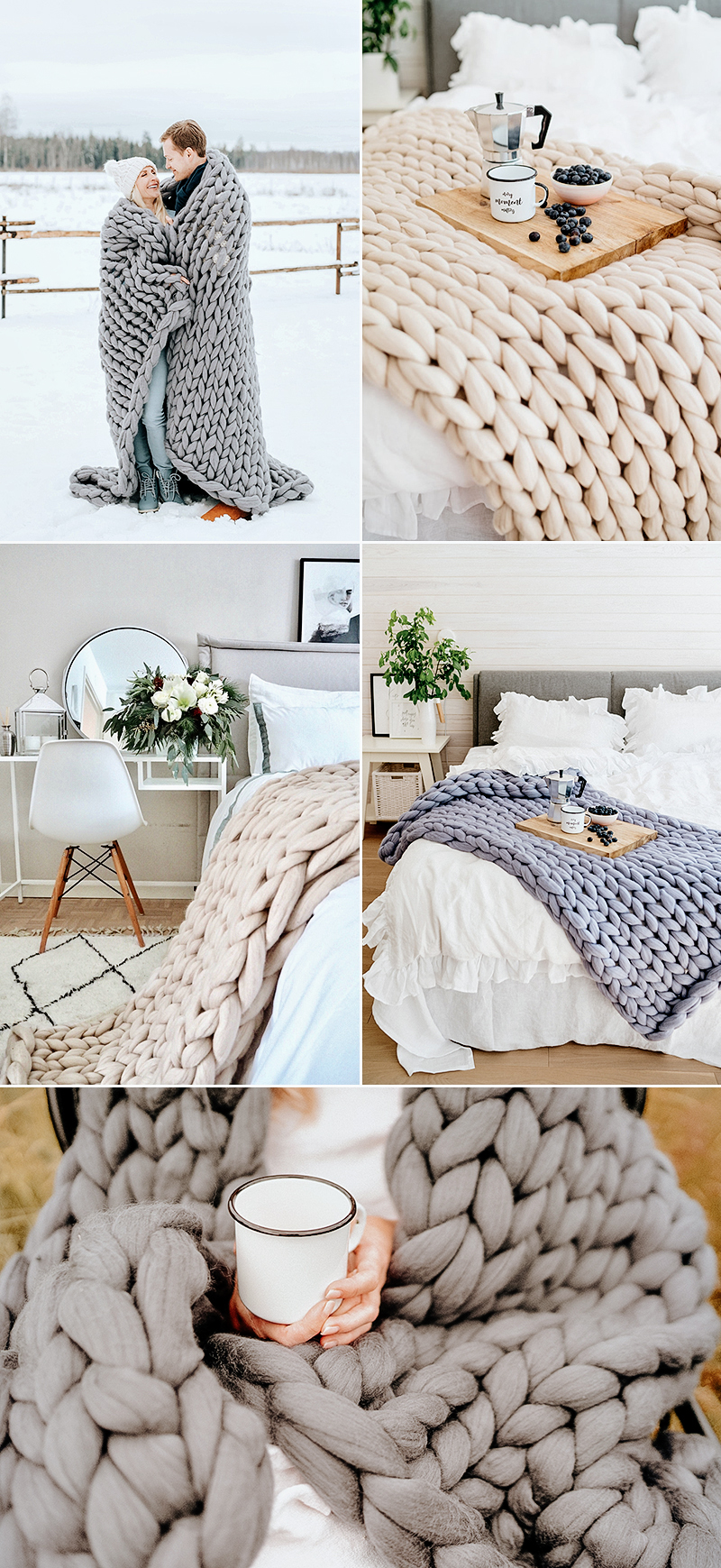 wedding gift idea chunky knit wool blanket