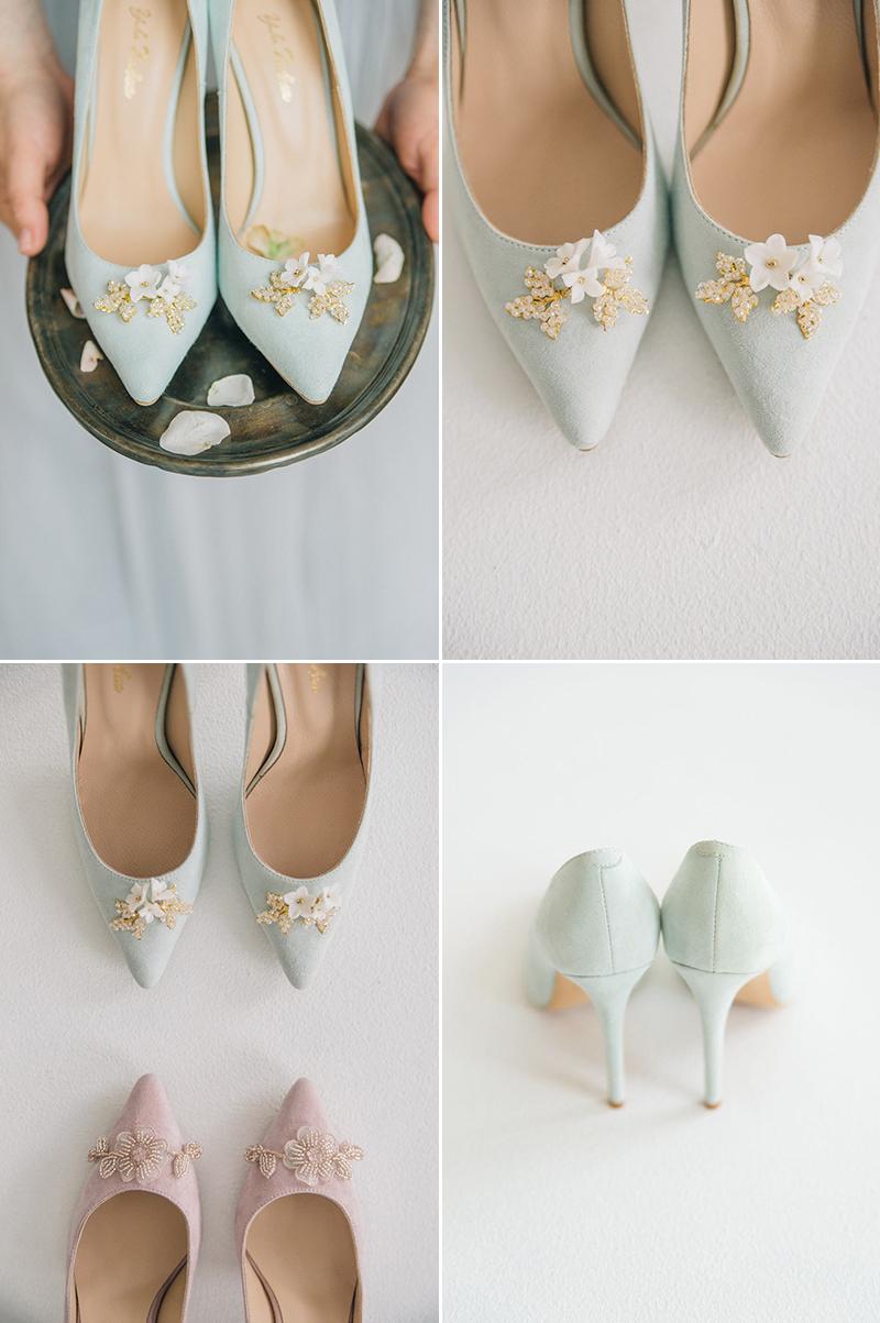 Something Blue Flower Brooch Wedding Heels