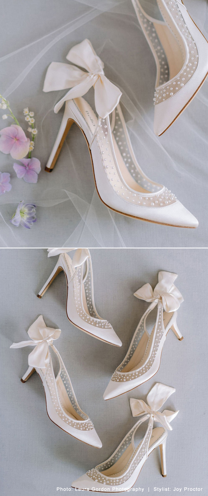 Pearl Slingback Wedding Low Heel with Bow