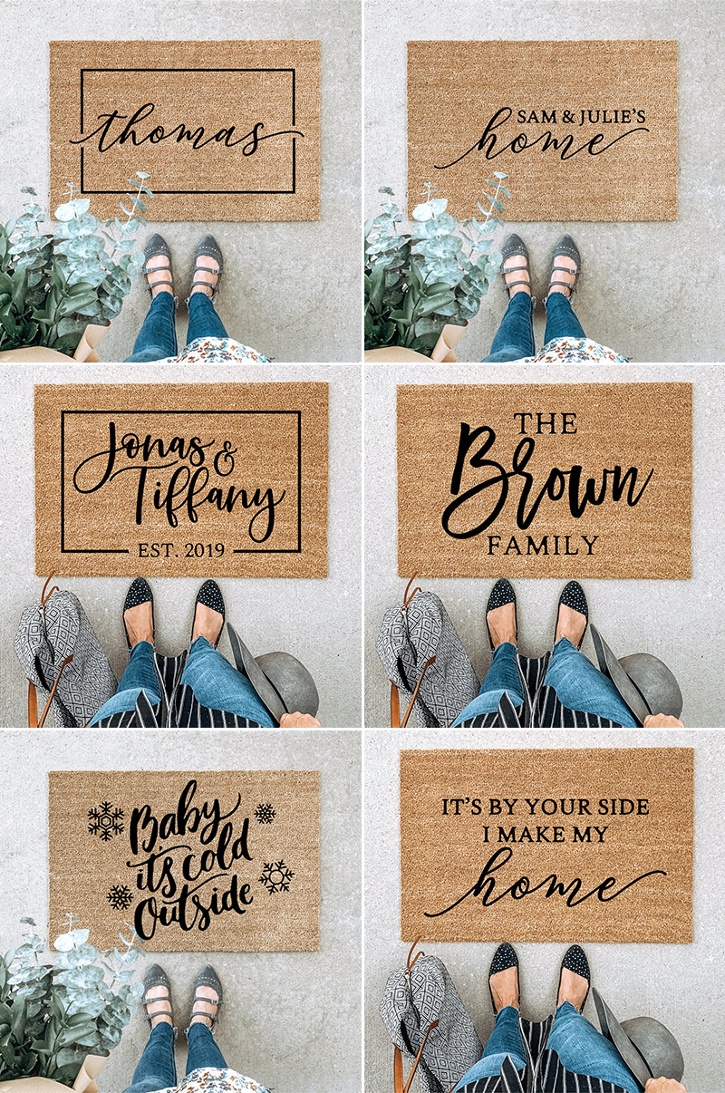 wedding gift idea personalized customize calligraphy doormat