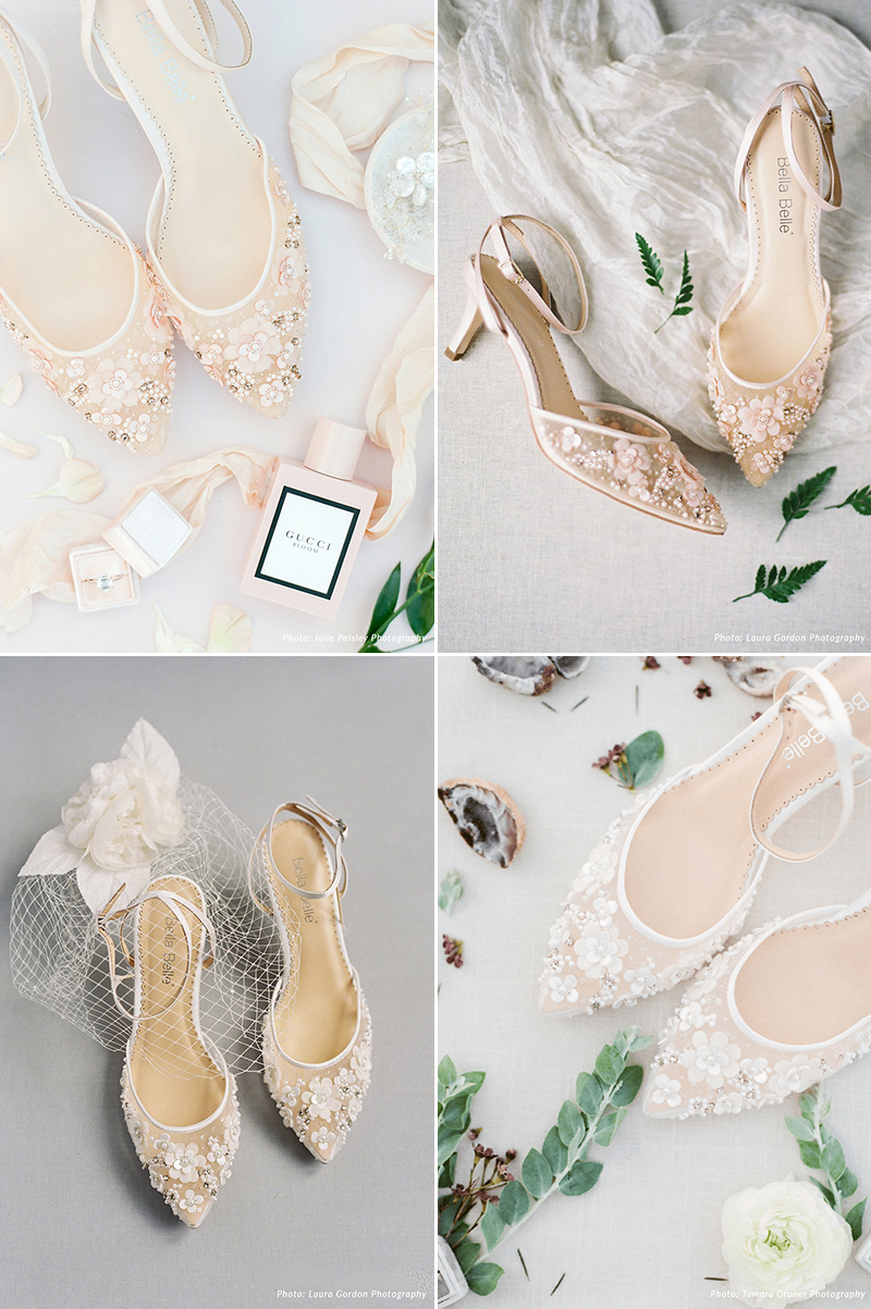 3D Floral Low Heel Wedding Shoes