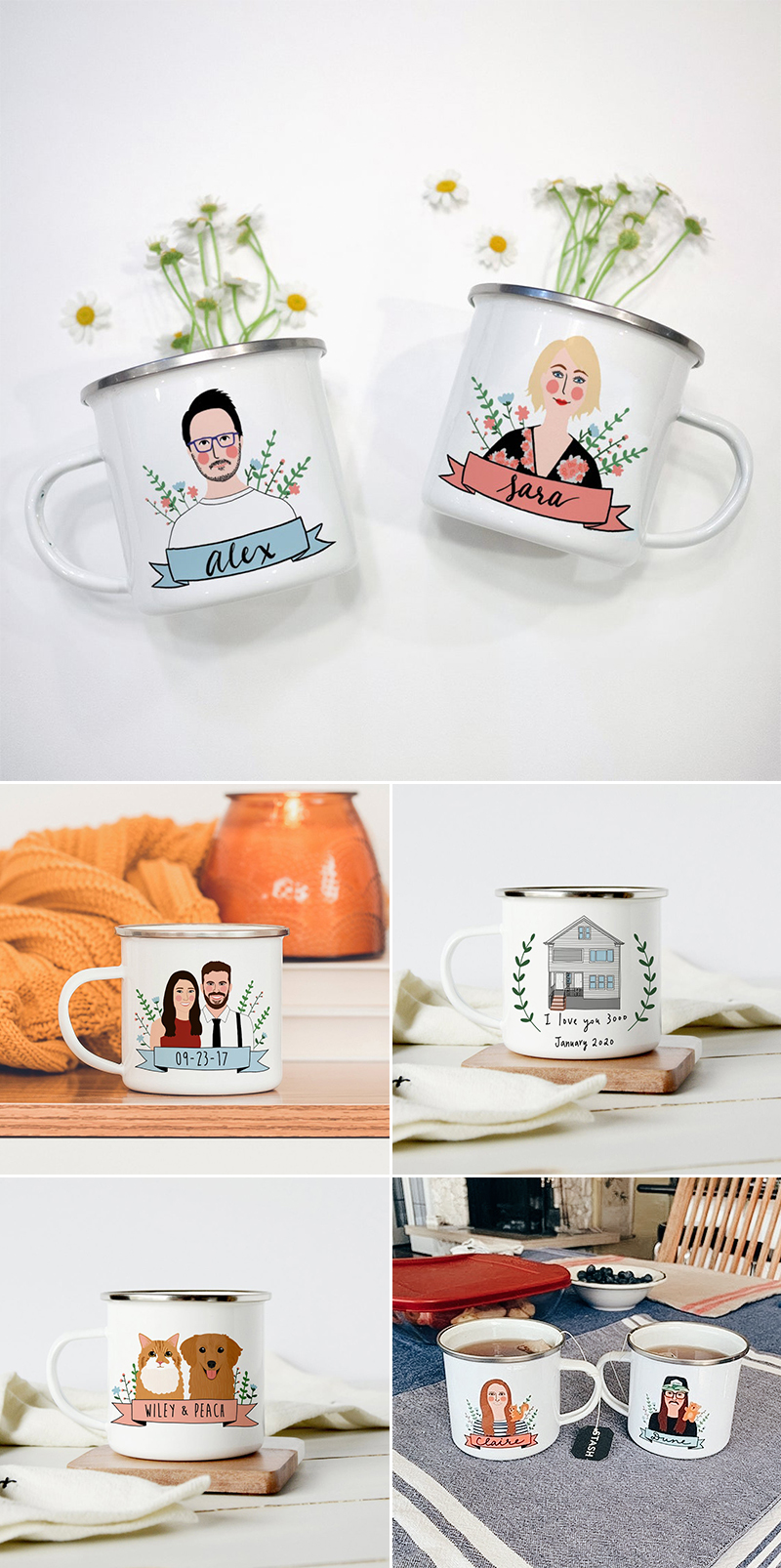 wedding gift idea couple portrait mug set