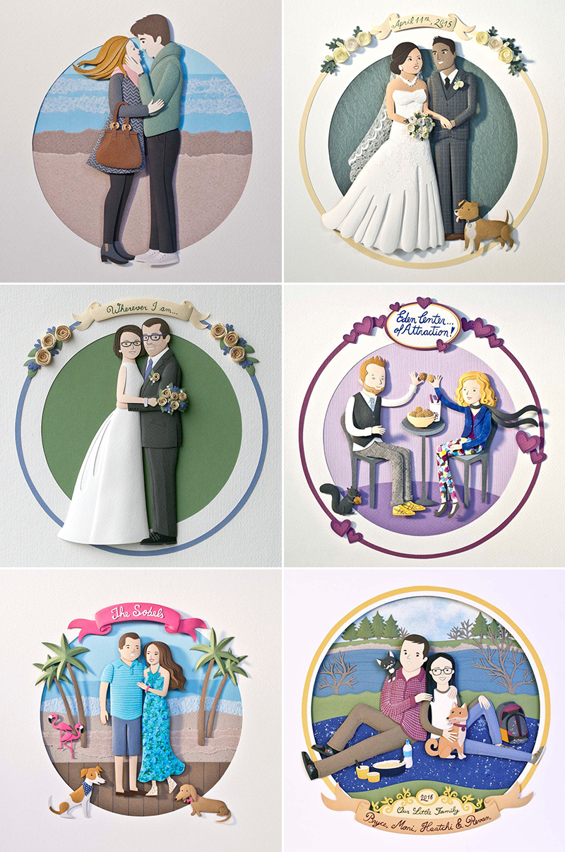 wedding gift idea paper cut personalized couple art