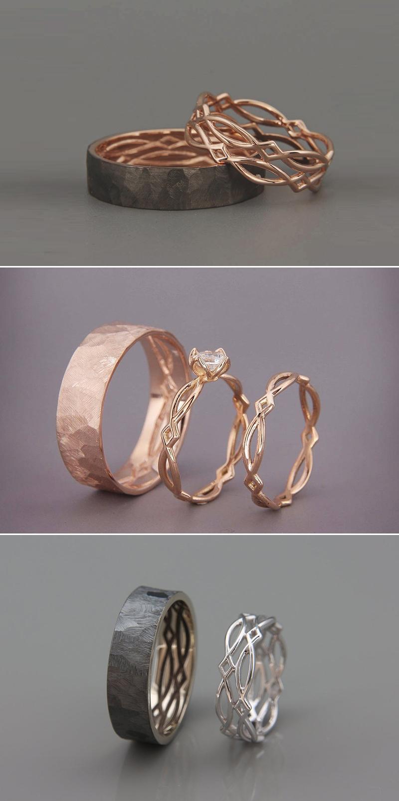 Inside Out Wedding Ring Set