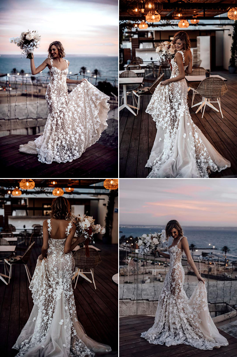 wedding dress with statement train