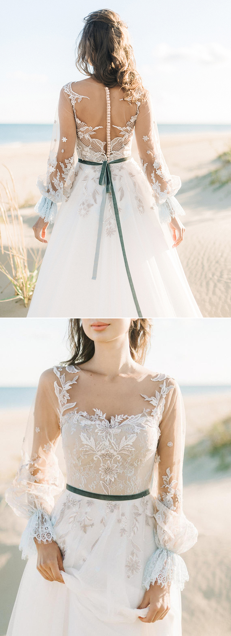 colored floral wedding dress