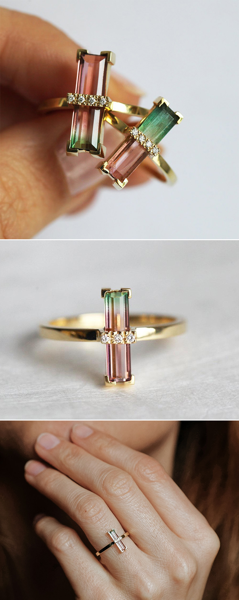 Bi-Color Watermelon Tourmaline Diamond Ring