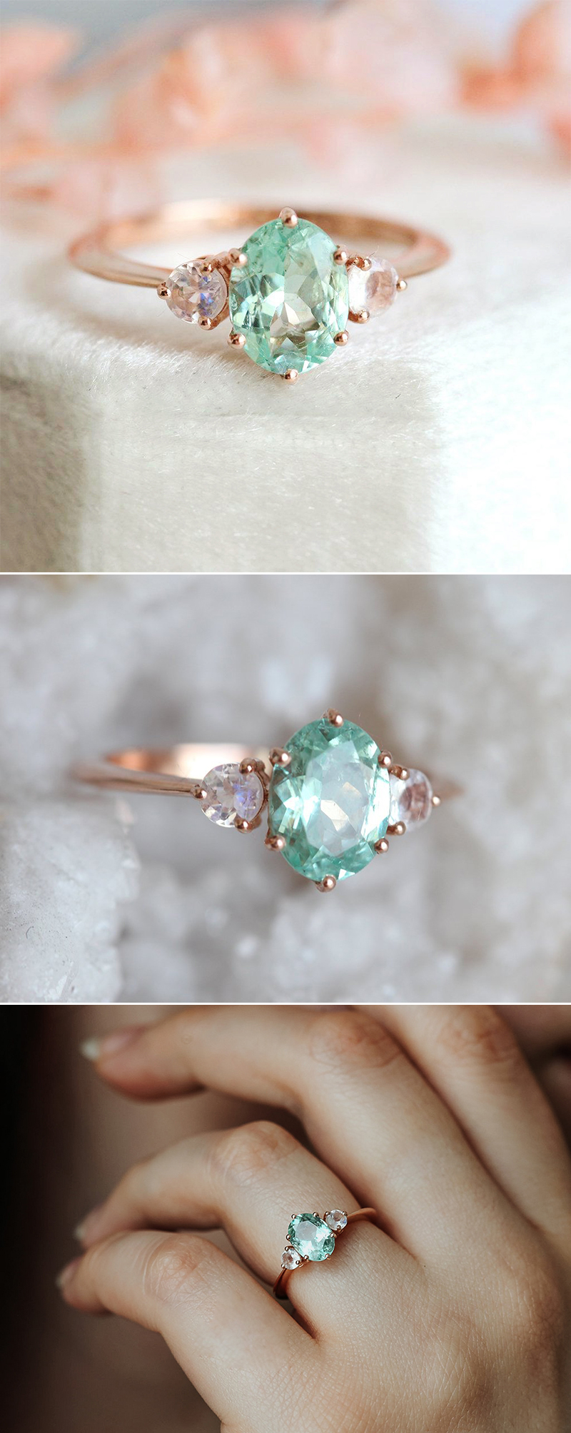 Mint Tourmaline Moonstone Engagement Ring