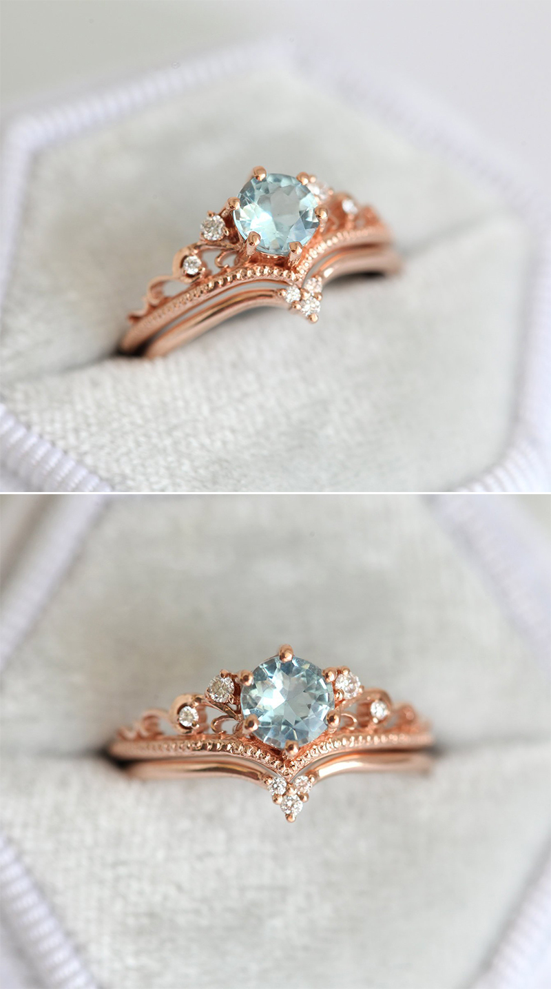 Aquamarine Engagement Ring Set