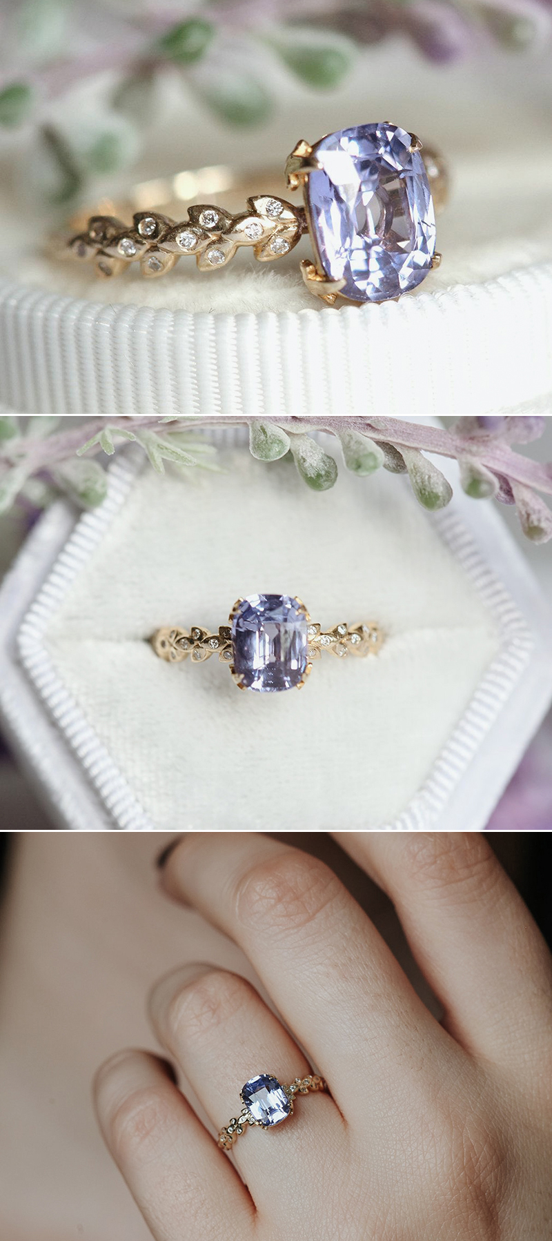 Lavender Sapphire Ring with Diamond Leaf Band