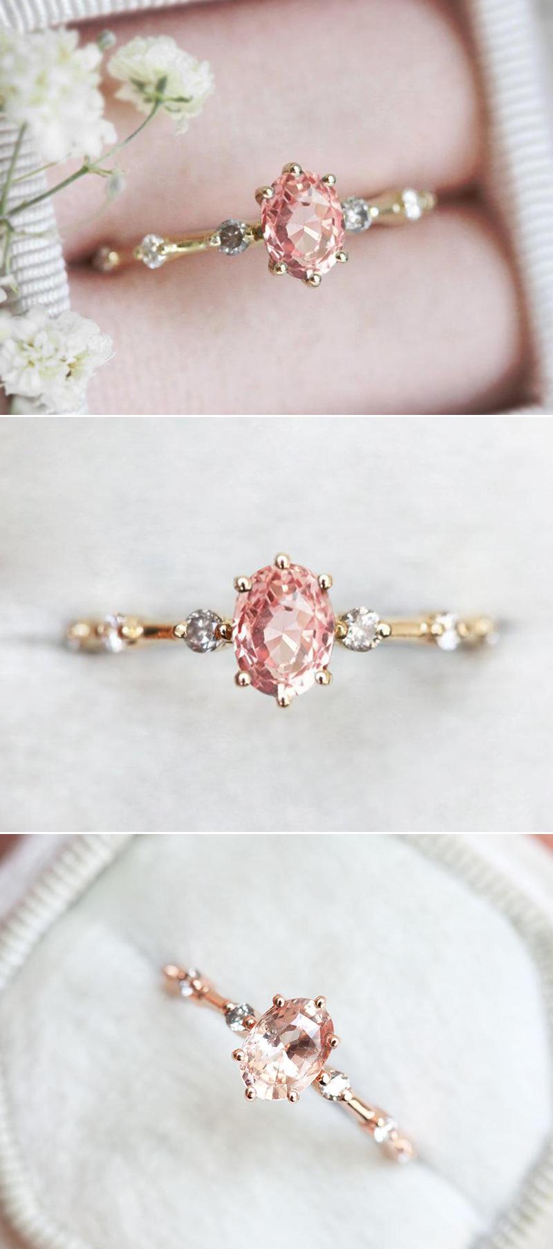 Oval Peach Sapphire Ring