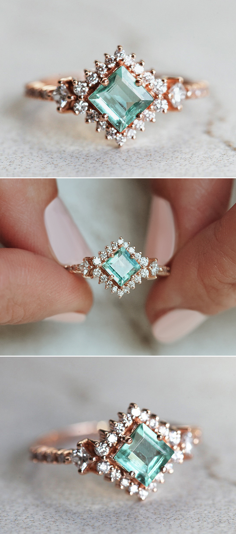 Paraiba Tourmaline Princess Cluster Ring