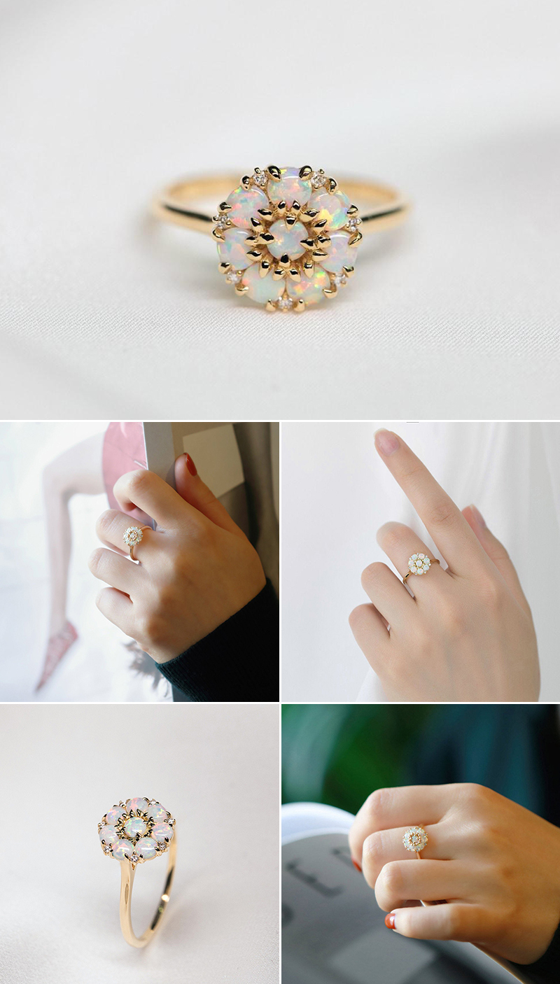 Sunflower Blossom Australian White Opal Ring