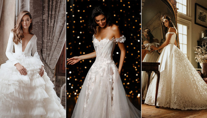15 Stunning Wedding Dresses Featuring Mixed Fabrics and Textural Contrast