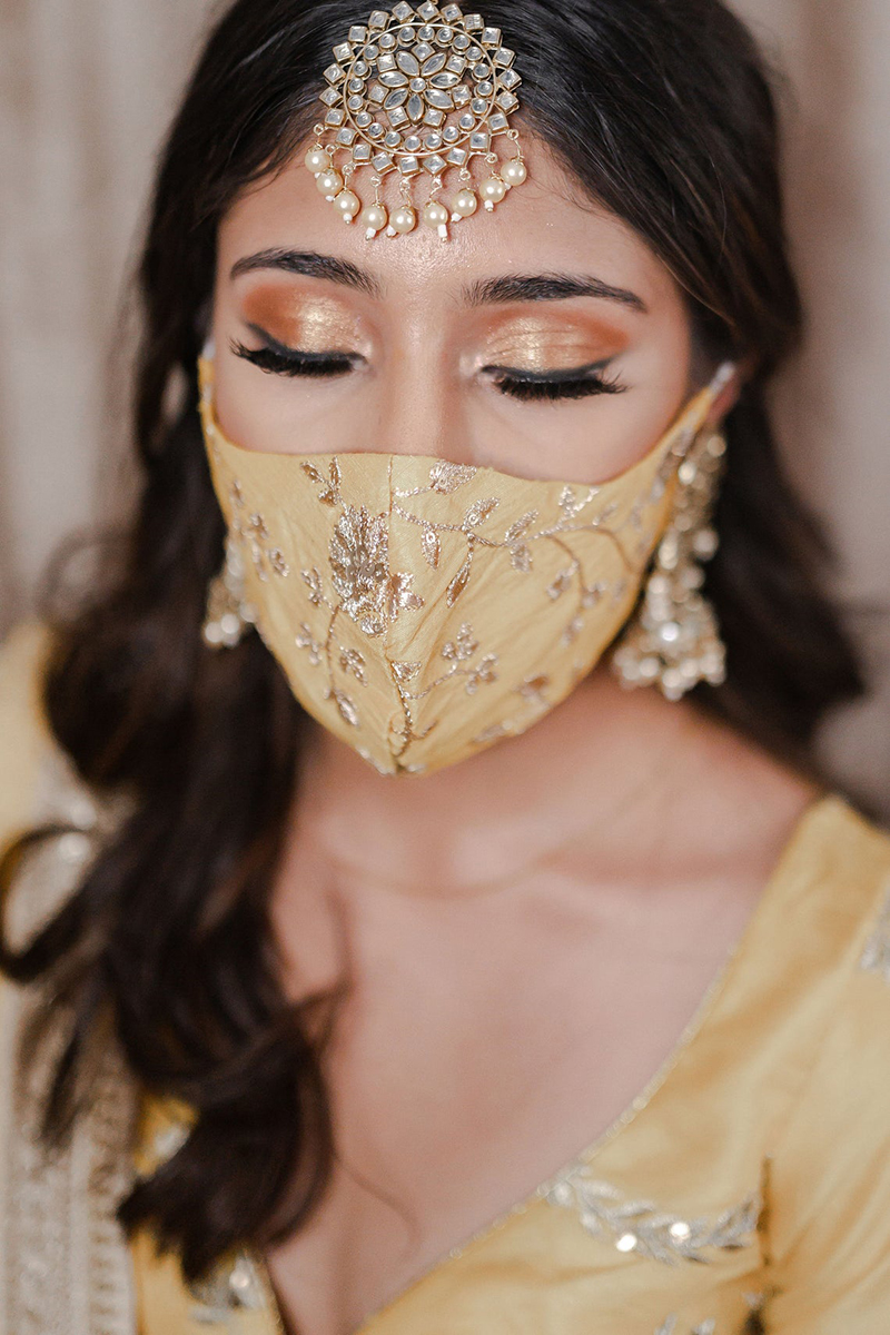 Yellow & Gold Embroidered Face Masks
