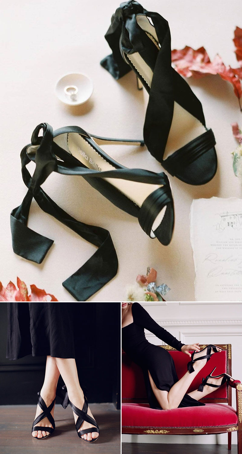 Kate Criss Cross Black Silk And Bow Evening Heel