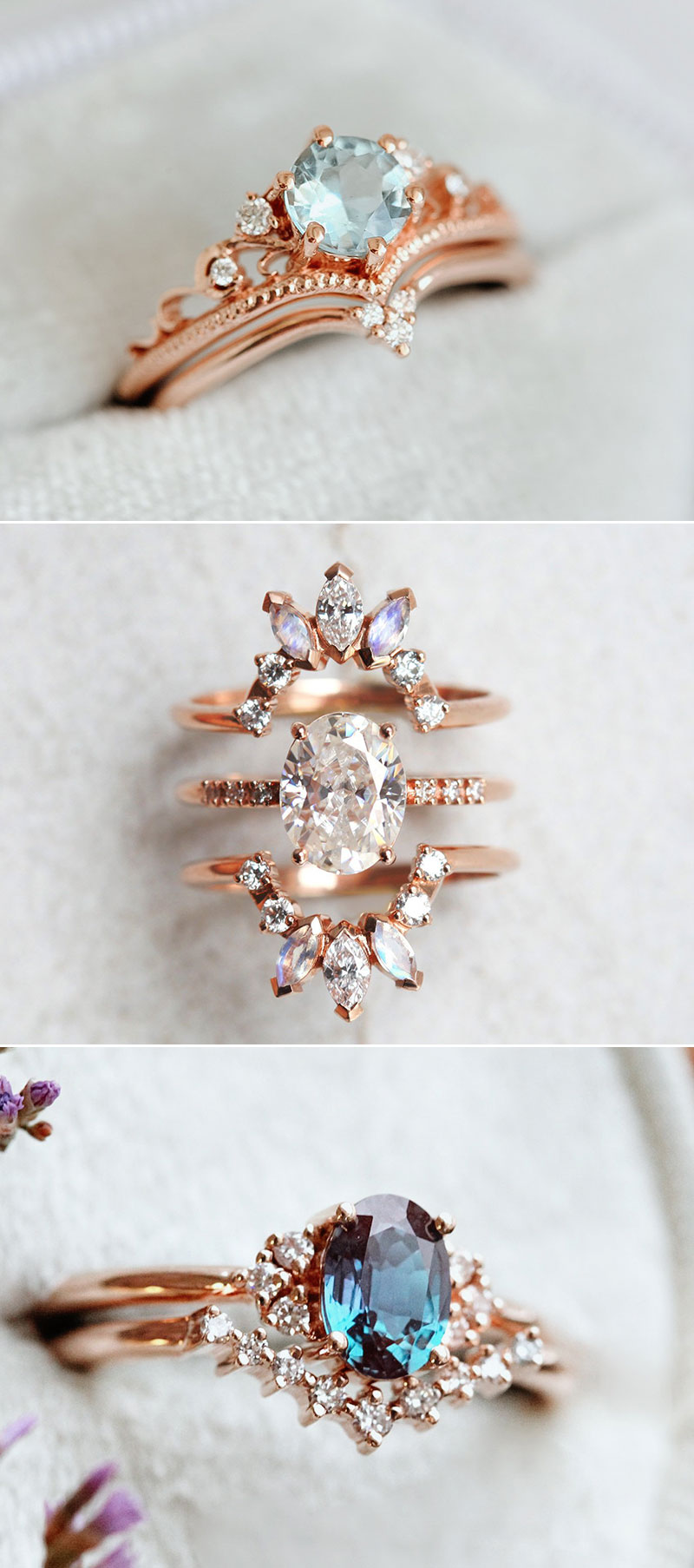 Stackable engagement ring set