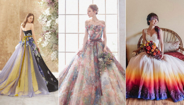 Unexpected Mix of Colors! 15 Colored Wedding Dresses and Evening Gowns