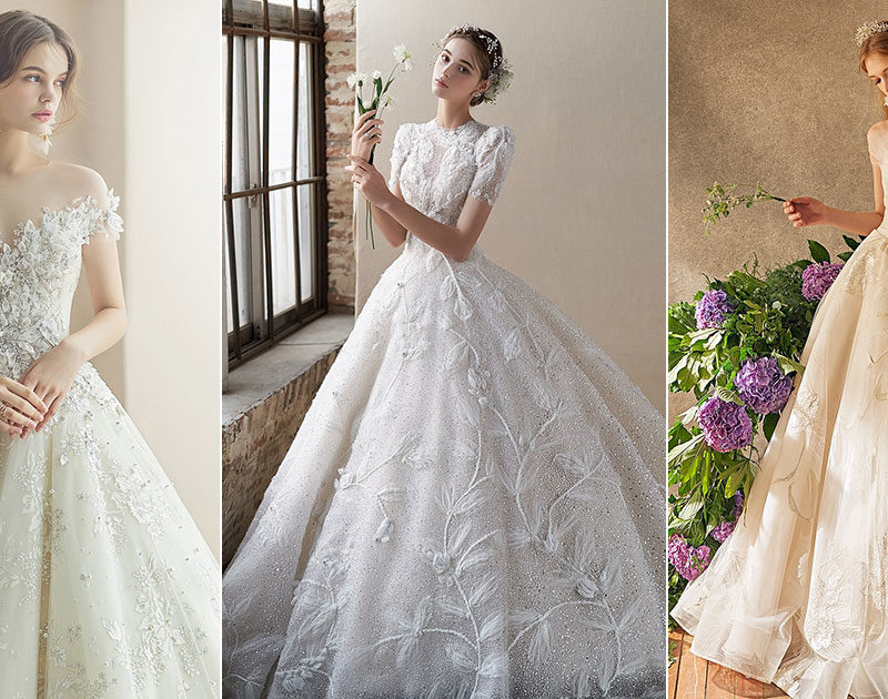 15 Ethereal Flower-Inspired Wedding Dresses For Your White Garden Wedding