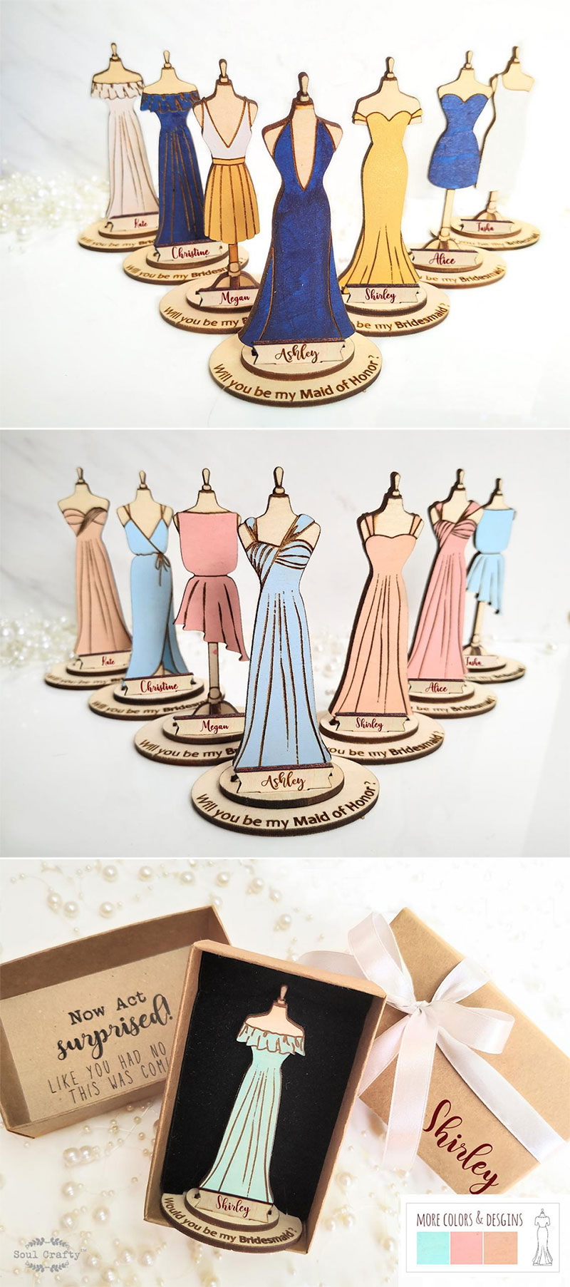 Bridesmaid Wooden Dress Proposal Gift