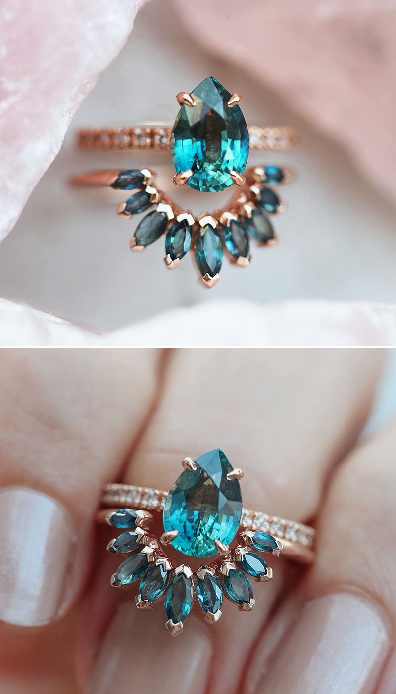 blue gemstone engagement rings diamond alternative